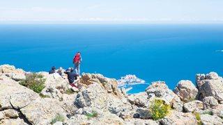Blick vom Gipfel bei einer Wanderung in der Region Calvi