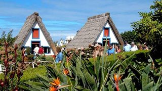 Traditionelle madeirische Häuschen samt Strohdächern in Santana