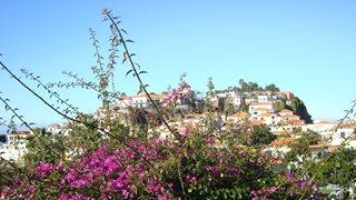 Ein auf einem Hügel gebautes typisches madeirisches Dorf